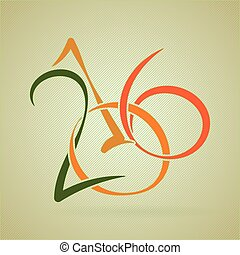 Vector calligraphic inscription to a new 2016