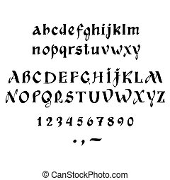 calligraphy - Vector calligraphy alphabet on a white ...