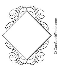 Vector calligraphy frame rhomb diamond pattern black isolated