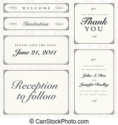 Vector Calligraphy Frames Set - Set of matching vector...