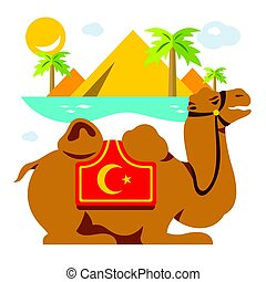 Vector Camel and palms in the Desert, oasis. Flat style colorful Cartoon illustration.