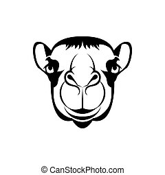 Vector camel head, face for retro hipster logos, emblems, badges, labels template and t-shirt vintage design element. Isolated on white background