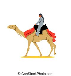 Vector Cameleer Cartoon Illustration. - A man riding a...