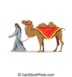 Vector Cameleer Cartoon Illustration. - Bedouin and camel on...