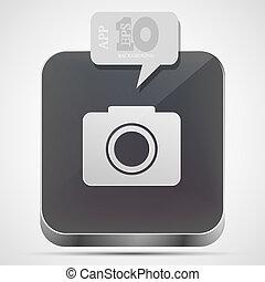 Vector camera app icon with gray bubble speech. Eps10