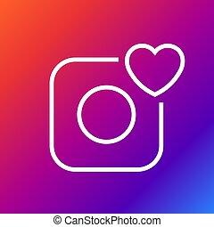 Vector camera icon - Camera and heart. Editable Stroke.