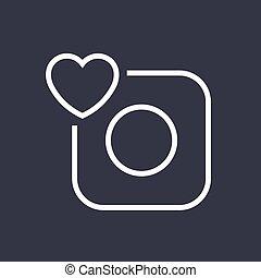Vector camera icon. Camera and heart. Editable Stroke