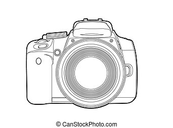 Vector camera - Vector outline camera on white background