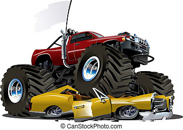 vector, camión, caricatura, monstruo