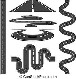 vector, caminos, iconos, conjunto, ilustración, carreteras
