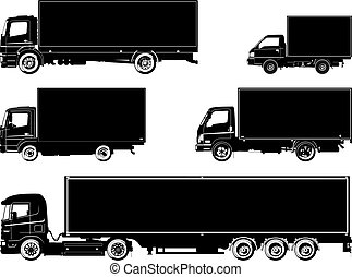 vector, camiones, siluetas, conjunto