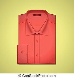 vector, camisa, ilustración, rojo