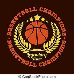 vector, campeonato, emblema, -, camiseta, baloncesto