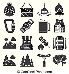 Vector Camping and outdoor recreation icons set
