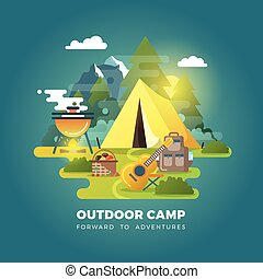 Vector camping background with tourist tent