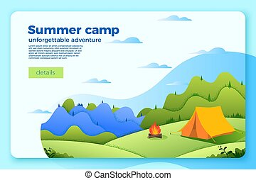 Vector camping banner template with bonfire, tent