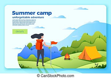 Vector camping banner template with tourist girl