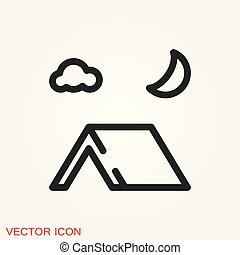 Vector camping icon to use for web and mobile UI, camping elements
