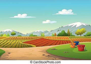 vector, campo de maíz, árboles, ilustración, montañas