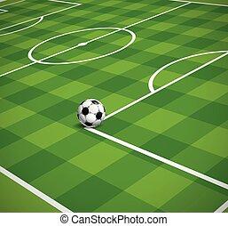 vector, campo, pelota del fútbol, ilustración