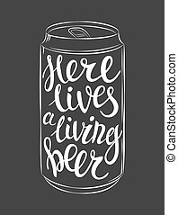 Vector can of beer lettering