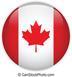 Canada Flag Glossy Button - Vector - Canada Flag Glossy...