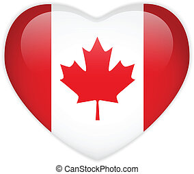 Canada Flag Heart Glossy Button - Vector - Canada Flag Heart...