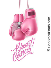 Vector cancer awareness pink box glove - cancer lettering...
