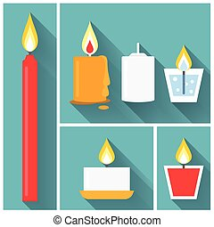 Vector candle icon set in flat style