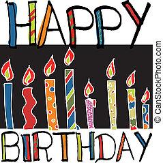 vector, candles., ilustración, cumpleaños, feliz