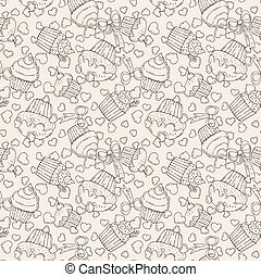Vector Candy and Muffins Seamless Pattern