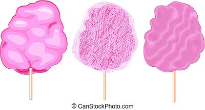 vector candy cotton set isolated on white background. sweet fluffy sugar cloud.