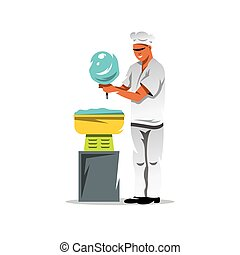 Vector Candy floss chef Cartoon Illustration.