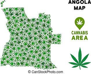 Vector Cannabis Composition Angola Map