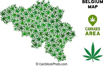 Vector Cannabis Composition Belgium Map