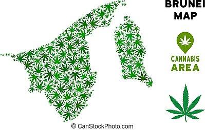 Vector Cannabis Composition Brunei Map
