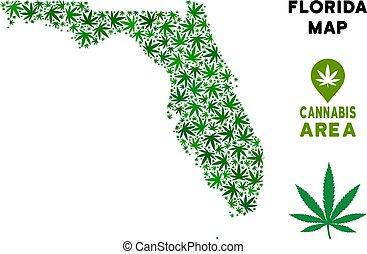 Vector Cannabis Composition Florida Map