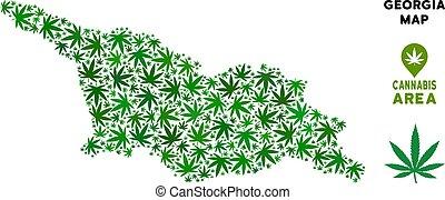 Vector Cannabis Composition Georgia Map