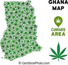 Vector Cannabis Composition Ghana Map