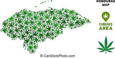 Vector Cannabis Composition Honduras Map