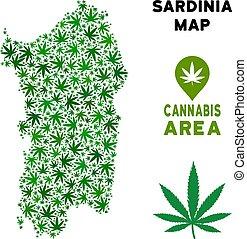 Vector Cannabis Composition Italian Sardinia Island Map -...
