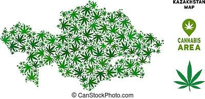 Vector Cannabis Composition Kazakhstan Map