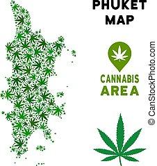Vector Cannabis Composition Phuket Map