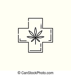 Vector cannabis in cross, legalization health care