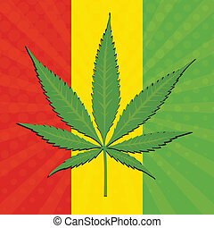 Vector cannabis leaf and flag of Ethiopia in background