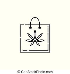 Vector cannabis line icon on shopping bag