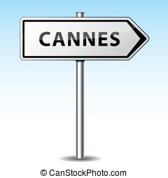 Vector cannes directional sign - Vector illustration of...