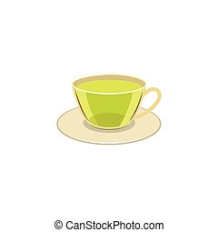 Vector cap of green tea on the caucer isolated