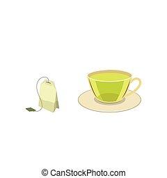 Vector cap of green tea with bag flat