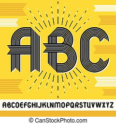 Vector capital modern alphabet letters, abc set. Trendy bold font, script from a to z can be used in art  poster creation. Created using stripy ornate, parallel lines.